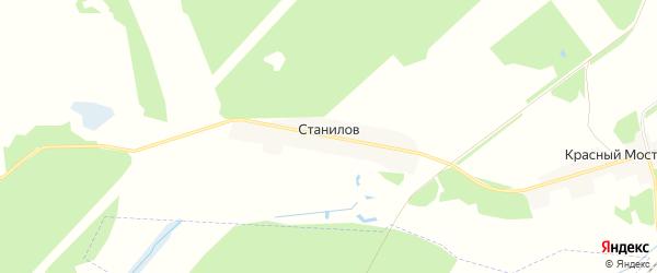Карта поселка Станилова в Брянской области с улицами и номерами домов