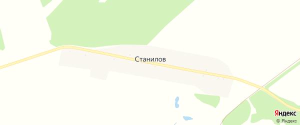 Дорожная улица на карте поселка Станилова с номерами домов