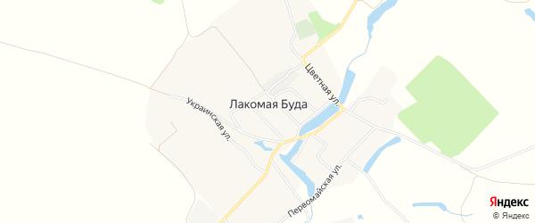 Карта села Лакомой Буды в Брянской области с улицами и номерами домов