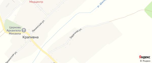 Заречная улица на карте села Крапивна с номерами домов