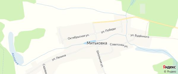 Карта села Митьковки в Брянской области с улицами и номерами домов