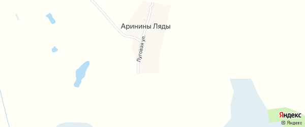 Луговая улица на карте поселка Аринины Ляды с номерами домов