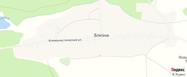 Коммунистическая улица на карте деревни Близны с номерами домов