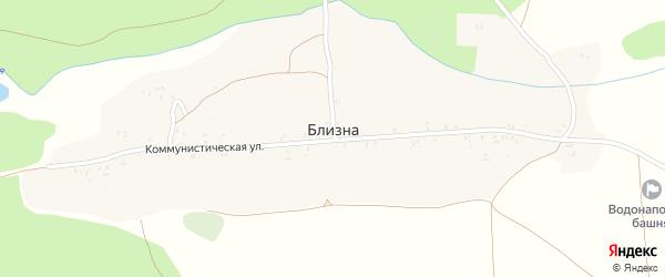 1-й Коммунистический переулок на карте деревни Близны с номерами домов