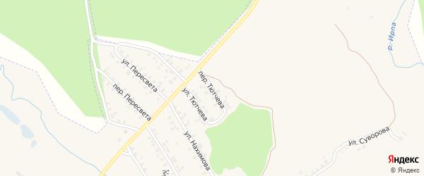 Переулок Тютчева на карте поселка Климово с номерами домов