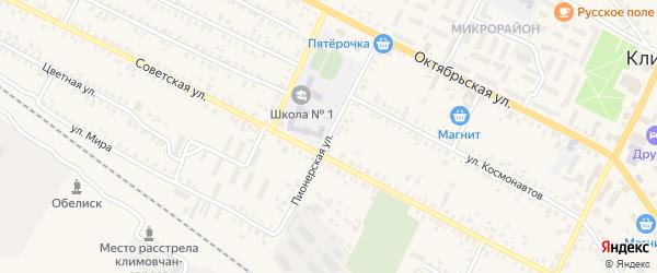 Пионерская улица на карте поселка Климово с номерами домов