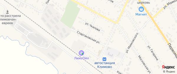 Спартаковская улица на карте поселка Климово с номерами домов