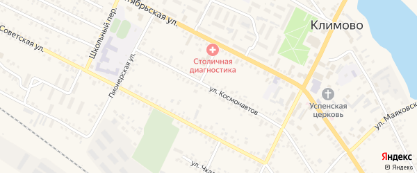 Улица Космонавтов на карте поселка Климово с номерами домов