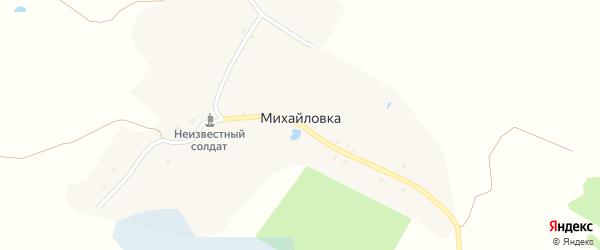 Зеленая улица на карте деревни Михайловки с номерами домов