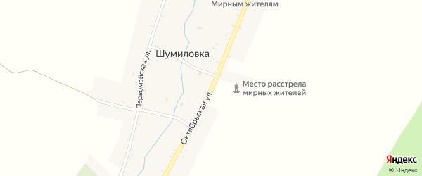 Октябрьская улица на карте села Шумиловки с номерами домов