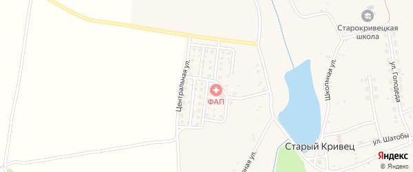 Центральная улица на карте села Старого Кривца с номерами домов
