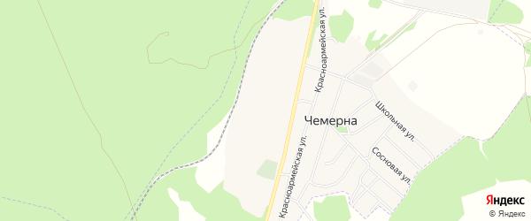 Территория СНТ Лантана на карте поселка Чемерны с номерами домов