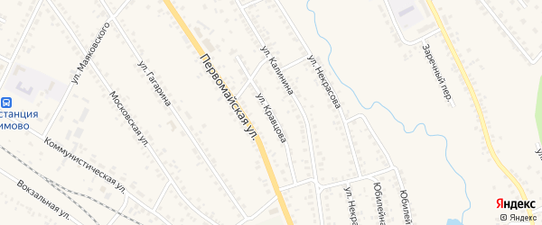 Улица Кравцова на карте поселка Климово с номерами домов