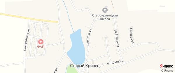 Школьная улица на карте села Старого Кривца с номерами домов