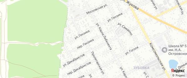 Переулок Гензика на карте Клинцов с номерами домов