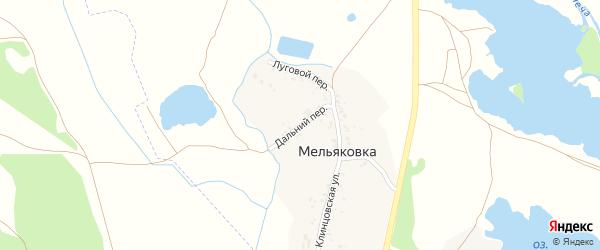 Дальний переулок на карте поселка Мельяковки с номерами домов