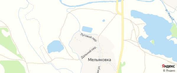 Луговой переулок на карте поселка Мельяковки с номерами домов