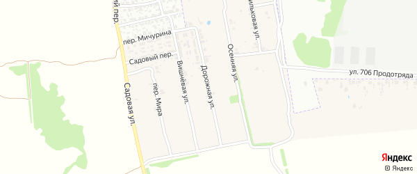 Дорожная улица на карте поселка Первое Маи с номерами домов