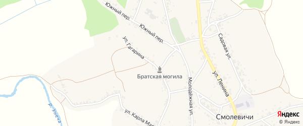 Улица Гагарина на карте села Смолевичей с номерами домов