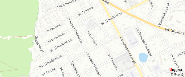 Переулок Гоголя на карте Клинцов с номерами домов
