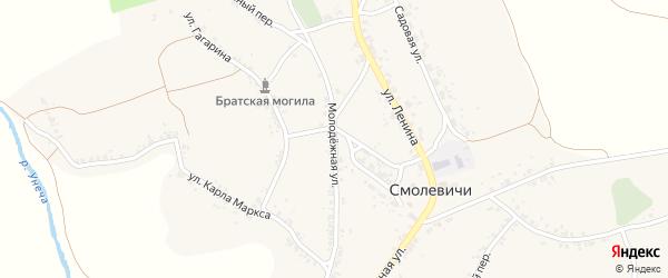 Молодежная улица на карте села Смолевичей с номерами домов