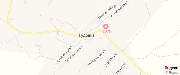 Октябрьская улица на карте деревни Гудовки с номерами домов