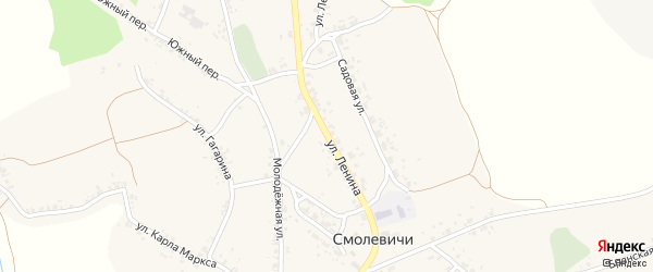 Улица Ленина на карте села Смолевичей с номерами домов