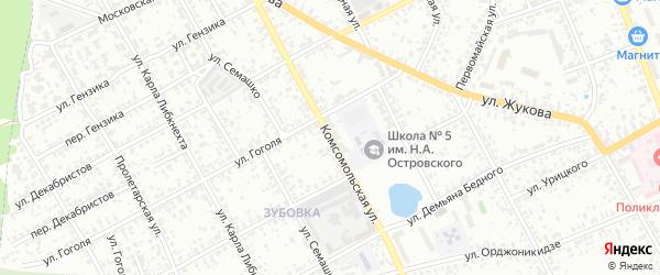 Комсомольская улица на карте Клинцов с номерами домов