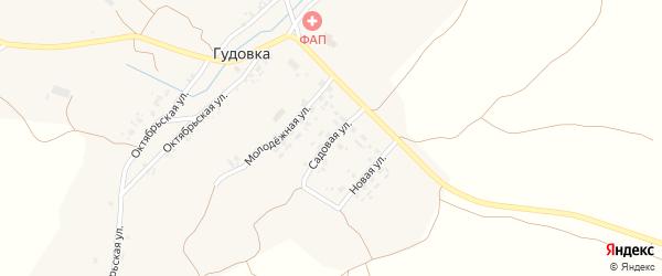 Садовая улица на карте деревни Гудовки с номерами домов