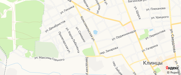СТ Южное на карте улицы Демьяна Бедного с номерами домов