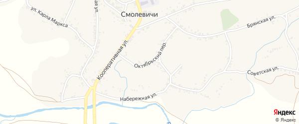 Октябрьский переулок на карте села Смолевичей с номерами домов