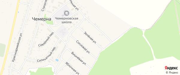 Зеленая улица на карте поселка Чемерны с номерами домов