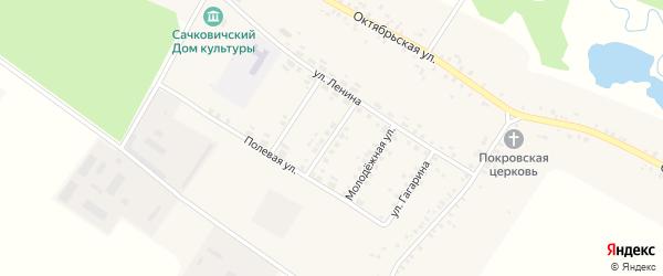 Улица Механизаторов на карте села Сачковичей с номерами домов