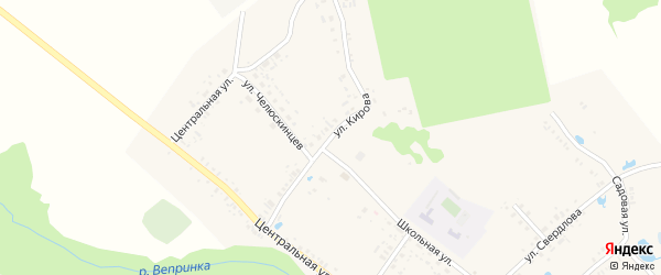 Улица Кирова на карте села Гулевки с номерами домов