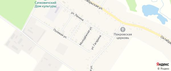 Молодежная улица на карте села Сачковичей с номерами домов