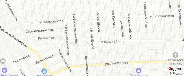 Переулок 2-й Щорса на карте Клинцов с номерами домов