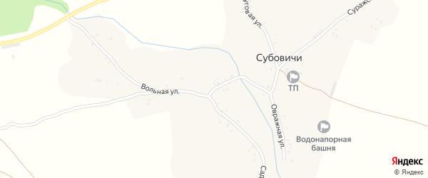 Вольная улица на карте деревни Суббовичи с номерами домов