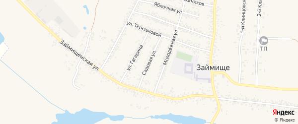 Садовая улица на карте села Займища с номерами домов