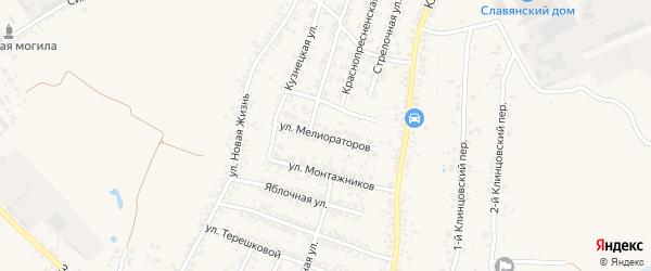 Улица Мелиораторов на карте села Займища с номерами домов