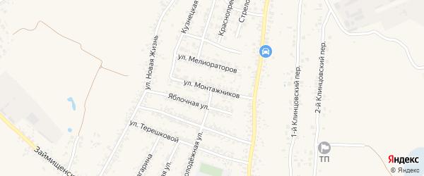 Улица Монтажников на карте села Займища с номерами домов