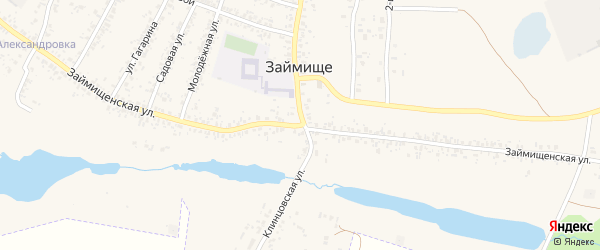 Займищенская улица на карте села Займища с номерами домов