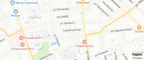 Суражский переулок на карте Клинцов с номерами домов