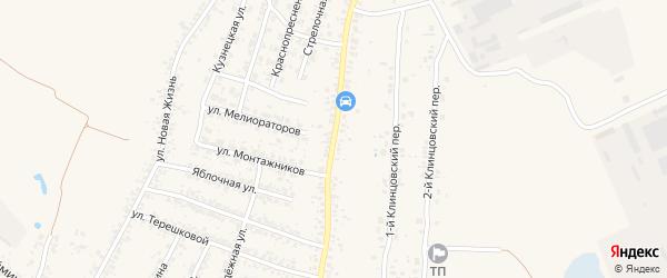 Клинцовская улица на карте села Займища с номерами домов