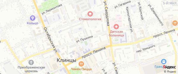 Улица Пушкина на карте Клинцов с номерами домов