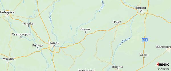 Карта Клинцовского района Брянской области с населенными пунктами и городами