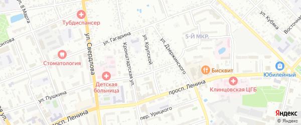 Улица Крупской на карте Клинцов с номерами домов