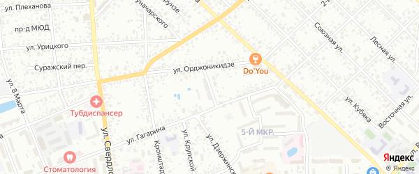 Переулок 1-й Орджоникидзе на карте Клинцов с номерами домов