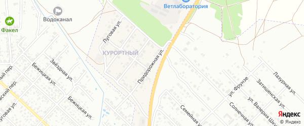 Придорожная улица на карте поселка Вьюнки с номерами домов