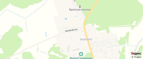 Зеленая улица на карте поселка Вьюнки с номерами домов