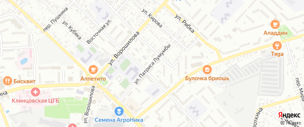 Улица Патриса Лумумбы на карте Клинцов с номерами домов